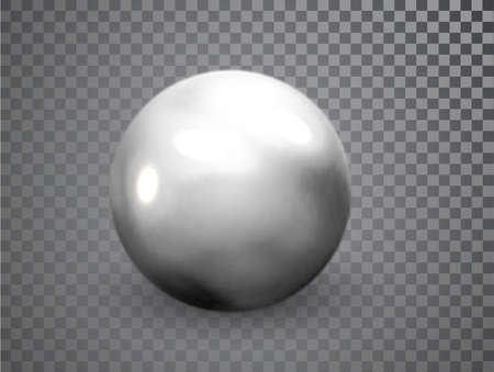 Silver, Chrome metal ball realistic isolated on transparent background. Spherical 3D orb with glares. Round shape, geometric simple, figure circle 矢量图像