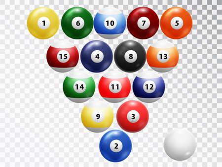 Billiard balls isolated. Glossy shiny Balls collection. Assorted billiard balls isolated on transparent background