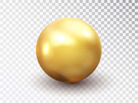 Golden sphere isolated on transparent background. Golden glossy 3D ball with glares. Round shape, geometric simple, figure circle. Vector 3d metal sphere, shiny capsule ball icon. 矢量图像