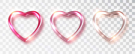 Hearts set shades of pink color for Valentine s day design isolated background a transparent background. Realistic decoration. Vector illustration. Love concept
