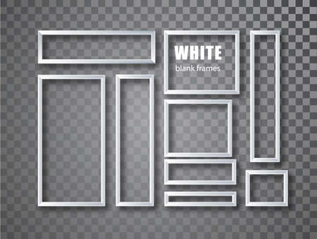 Frame mockup template isolated on transparent background. White blank picture frames collection 矢量图像