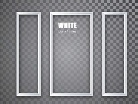 White Frame vertical mockup template isolated on transparent ackground. White blank picture frames. Empty frame.