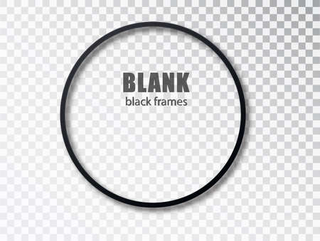 Black circle blank picture frames. Empty Frame black mockup template isolated on transparent background 矢量图像
