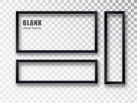 Black Frames banners set. Vector plates with a place for inscriptions isolated on transparent background. Empty frame. Realistic 3D design
