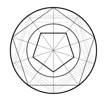 Minimalistic style design. Golden ratio. Geometric shapes. Logo. Vector icon. Abstract vector background 矢量图像