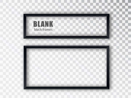 Black rectangular frames. Blank banners template with place for an inscription