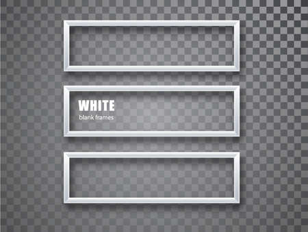 White Frame horizontal mockup template isolated on transparent background. White blank picture frames. Empty frame. 矢量图像