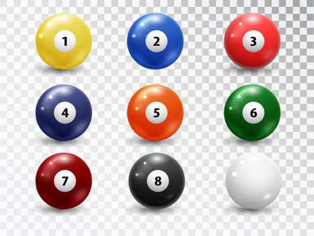 Billiard balls, pool accessory set. Realistic balls on transparent background. Vector design elements.