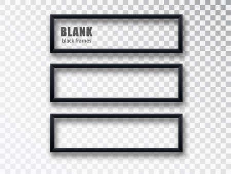 Horizontal black frame mockup template isolated on transparent background. Black blank picture frames. Empty frame