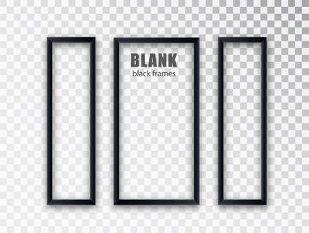 Vertical frames mockup template isolated on transparent background. Black blank picture frames. Empty frame.