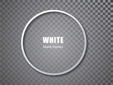 White circle blank picture frames. Empty Frame white mockup template isolated on transparent background