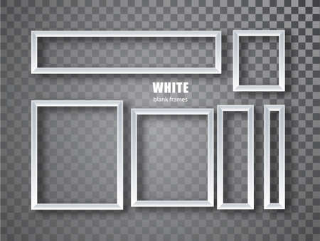 White Frames banners set. Vector plates with a place for inscriptions isolated on transparent background. Empty frame. Realistic 3D design 矢量图像