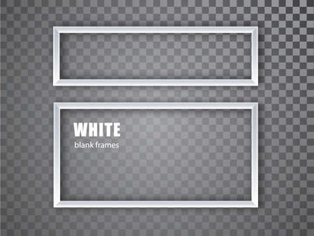 White realistic empty picture frame on transparent background. Blank white picture frame mockup template isolated. Vector illustration.