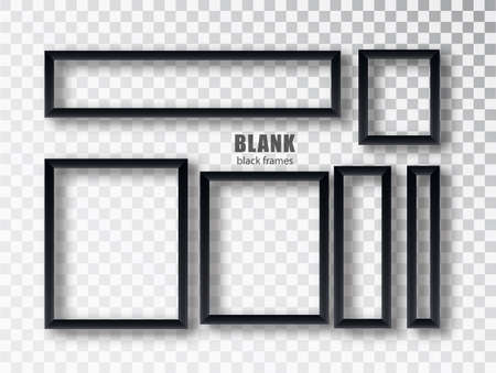 Set empty black picture frames. Blank black picture frames mockup template isolated on transparent background. Vector collection. 矢量图像