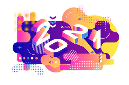 2021 Colored Memphis style. Banner with 2021 Numbers. Vector New Year illustration