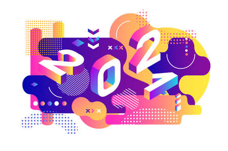 2021 dynamical colored isometric. Banner with 2021 Numbers and gradient abstract flowing liquid shapes. Vector New Year illustration