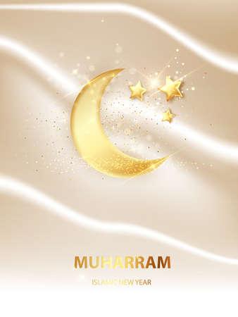Islamic new year, Happy Muharram. Muslim community festival vector illustration.
