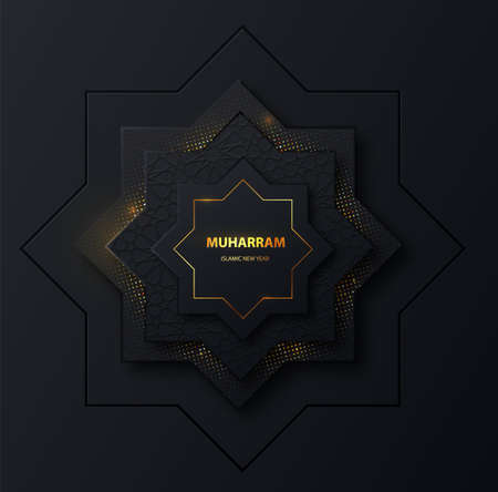 Muharram islamic new holiday dark banner with gold. Islamic holiday design. Islam, muslim religion banner