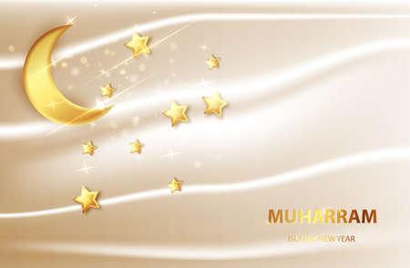 Happy muharram islamic new hijri year background. Islam, muslim religion banner
