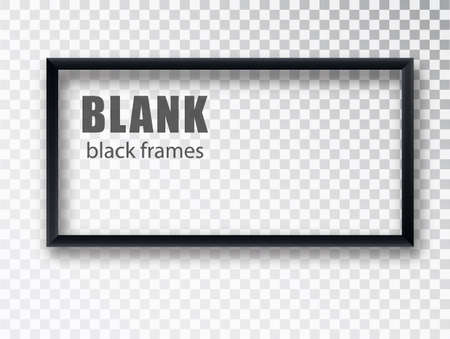Black rectangular realistic empty picture frame on transparent background. Blank black picture frame mockup template isolated. Vector illustration