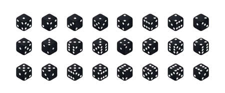 Isometric dice. Variants black game cubes isolated on white background. All possible turns authentic collection icons in realistic style. Gambling concept. 矢量图像