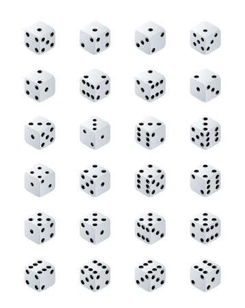 Dice isometric. Variants white game cubes isolated on transparent background. White poker cubes vector isolated.