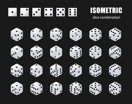 Isometric dice. Set of isometric dice combination. White poker cubes vector isolated.