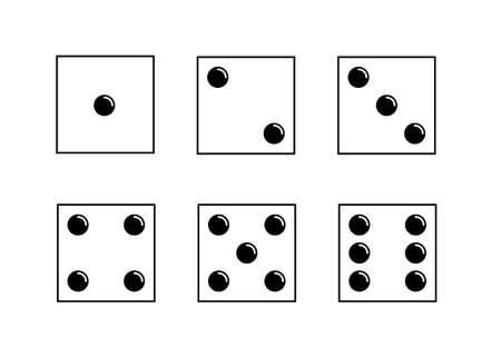 Dice icons set. Traditional die with six faces of cube marked with different numbers of dots or pips from 1 to 6 矢量图像