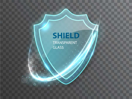 Glass transparent shield. Protective glass shield with reflection and glow on transparent background. Realistic 3d. 矢量图像