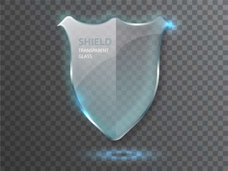 Protect guard glass shield concept. Transparent glass shield sign on transterent background 矢量图像