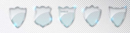 Glass shields set. Blank acrylic screen panels guard and defense symbol template isolated on transparent background. Realistic 3d vector icon