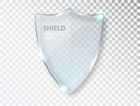 Glass shield sign on transterent background. Security glass label. Glass shield sign. Privacy transparent banner shield. 矢量图像