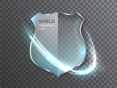 Glass shield sign on transterent background. Safety badge protection icon. Defense safeguard sign 矢量图像