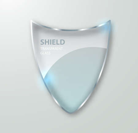 Transparent glass shield sign on transterent background. Vector realistic Protective glass illustration