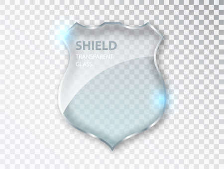 Glass shield sign. Safety badge protection icon. Blank acrylic screen panels guard and defense symbol template isolated on transparent background.