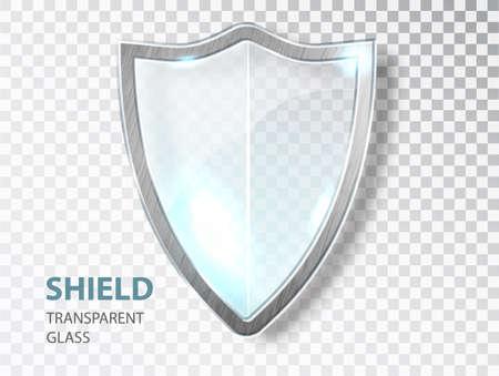 Glass shield sign. Security glass label. Privacy transparent banner shield. Defense safeguard sign. Vecteurs