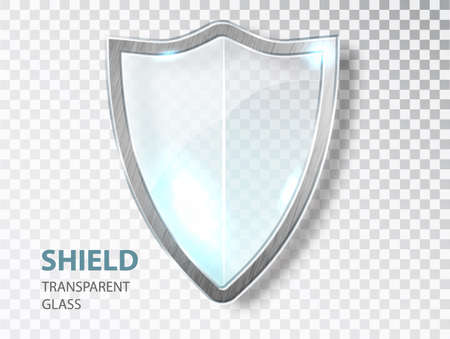 Glass shield sign. Security glass label. Privacy transparent banner shield. Defense safeguard sign.