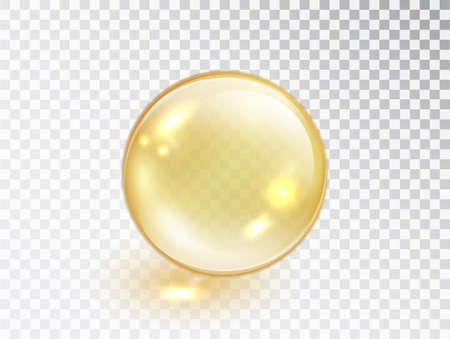 Gold oil bubble isolated on transparent background. Vector realistic yellow serum droplet of drug or collagen essence. Vitamin translucent pill.