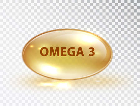 Capsule with Omega 3. Vitamin capsule. Oil bubble isolated on transparent background. Beauty treatment nutrition skin care design. Oil macro vector illustration 矢量图像