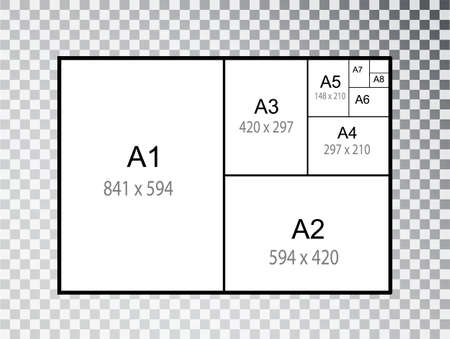 IInternational A series paper size formats isolated on transparent background