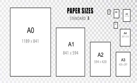 Paper size. Size of. International A series paper size formats from A0 to A8