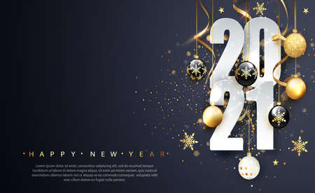 2021 Happy new year. Happy New Year Banner with numbers date 2021. Dark background. Vector illustration Vectores