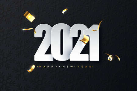 2021 new year luxury illustration on dark background. Happy New Year greetings Vectores