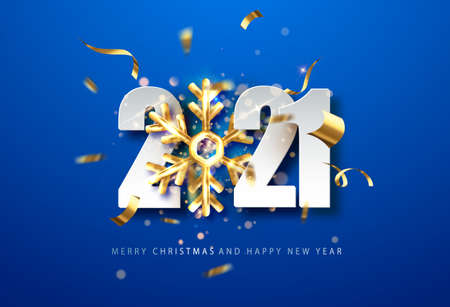 2021 Blue New Year background . holiday background with golden snowflake and date 2021. Vector illustration for web