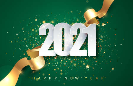 2021Green Christmas, New Year background . Greeting card or poster with happy new year 2021 with gold glitter and shine. Vector illustration for web