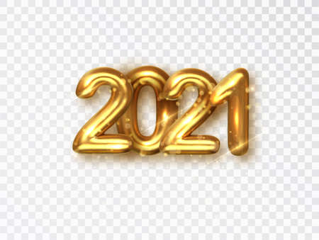 2021 golden realistic numbers on transparent background. Vector object for creating holiday illustrations with date 2021.