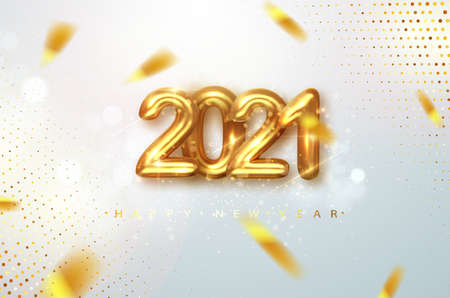 2021 Happy new year. Gold design metallic numbers date 2021 of greeting card. Happy New Year Banner with 2021 numbers on Bright Background. Vector illustration.