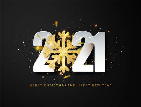 2021 Happy New Year greeting background with golden glitter snowflake and white numbers on black background. Vector Christmas illustration