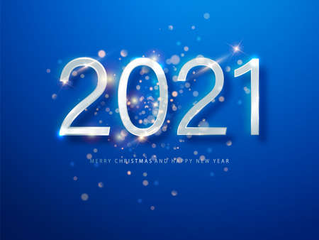 2021 Blue Christmas, New Year background . Greeting card or poster with happy new year 2021. Vector illustration for web