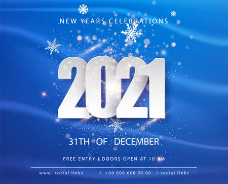 Happy new 2021 year. Winter holiday Blue greeting card design template. New Year holiday posters. Happy New Year Blue festive background Vectores